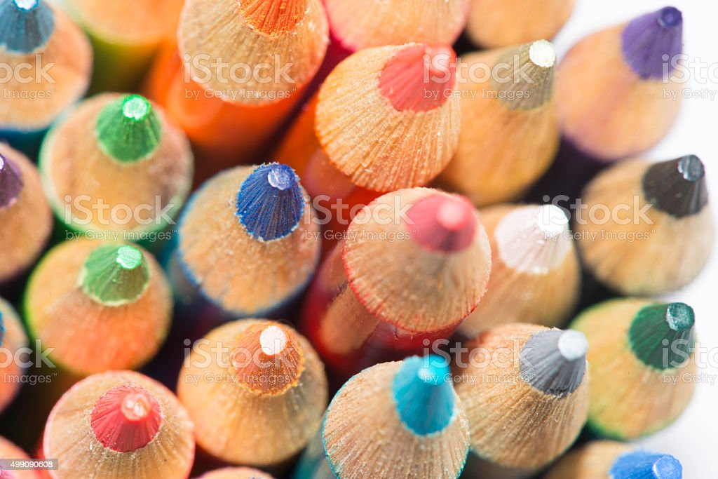 Colored Pencils close up - multi colored stock photo