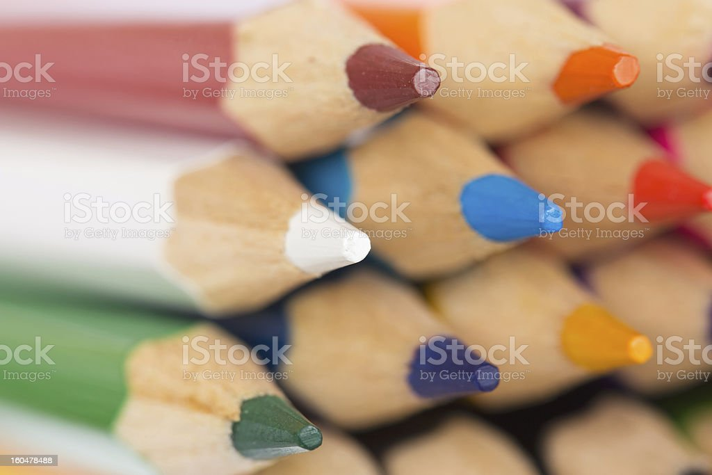 Colored pencils closeup royalty-free stock photo