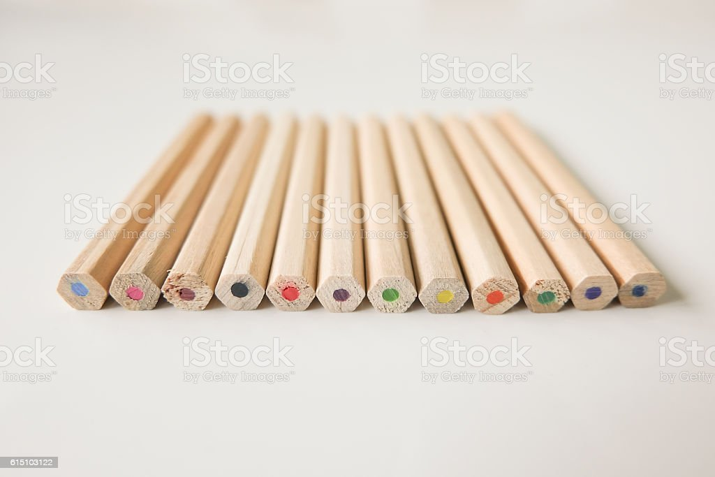 colored pencils for School supplies stock photo