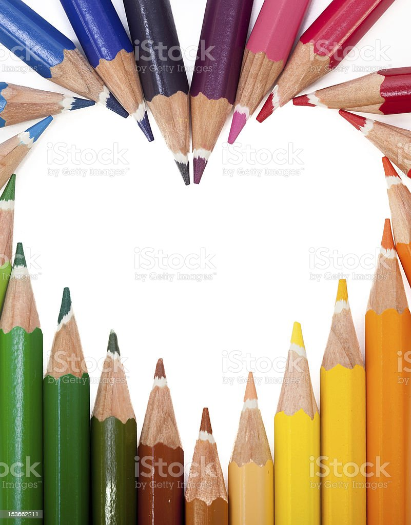 Colored Pencils Heart royalty-free stock photo