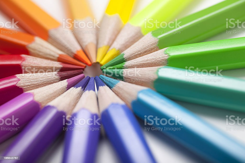 Colored Pencils in a Circle stock photo