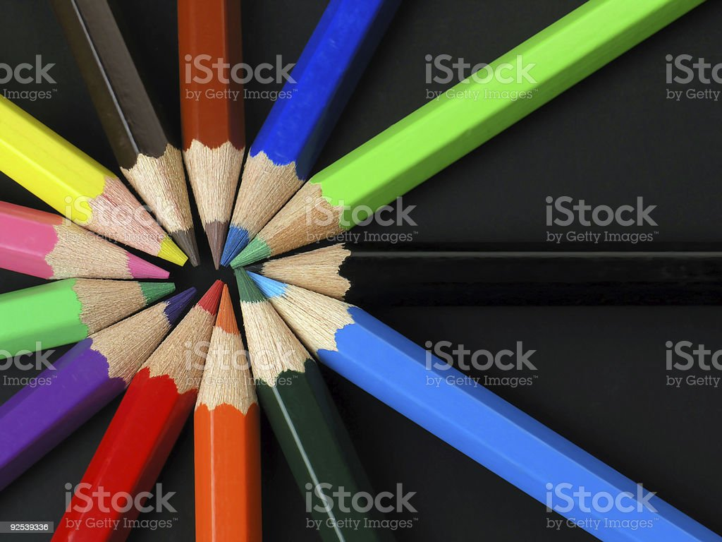 Colored Pencils in a Row royalty-free stock photo