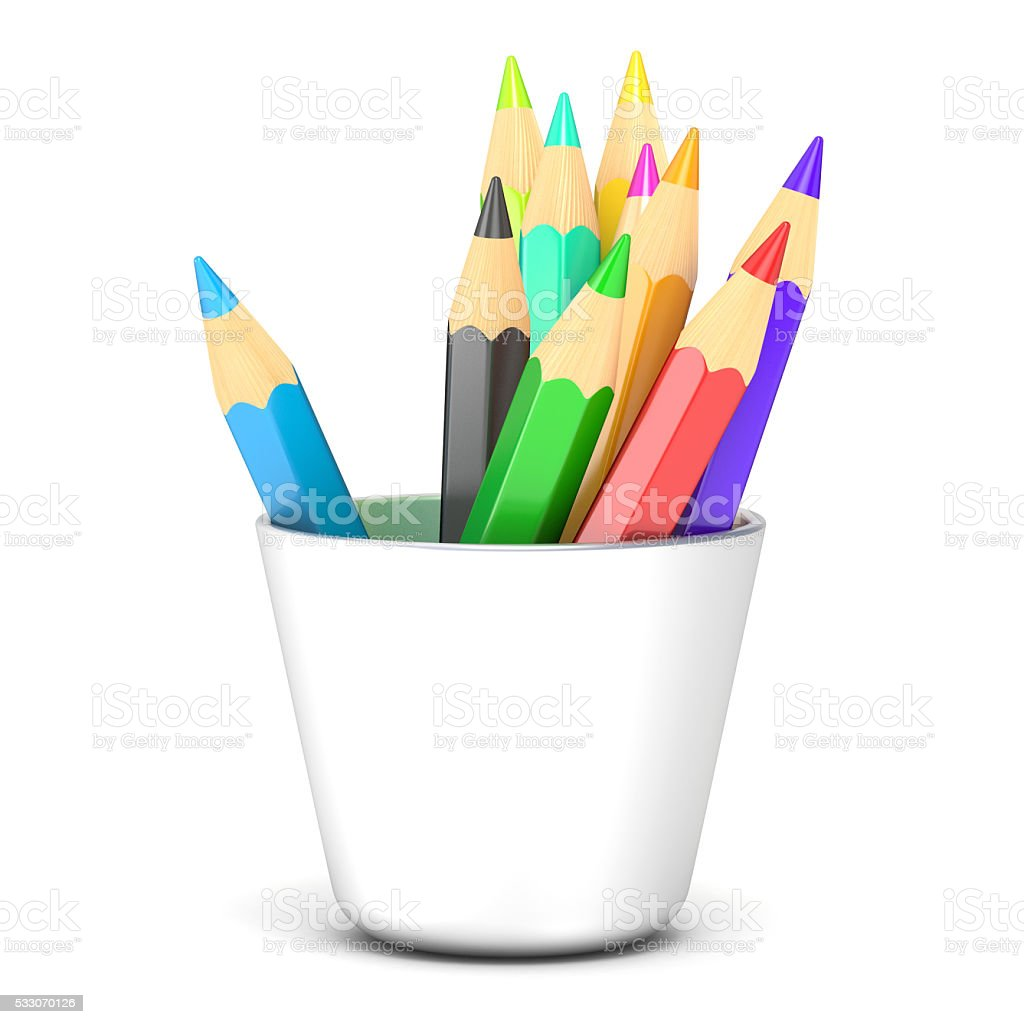 Colored pencils in a white holder. 3D stock photo