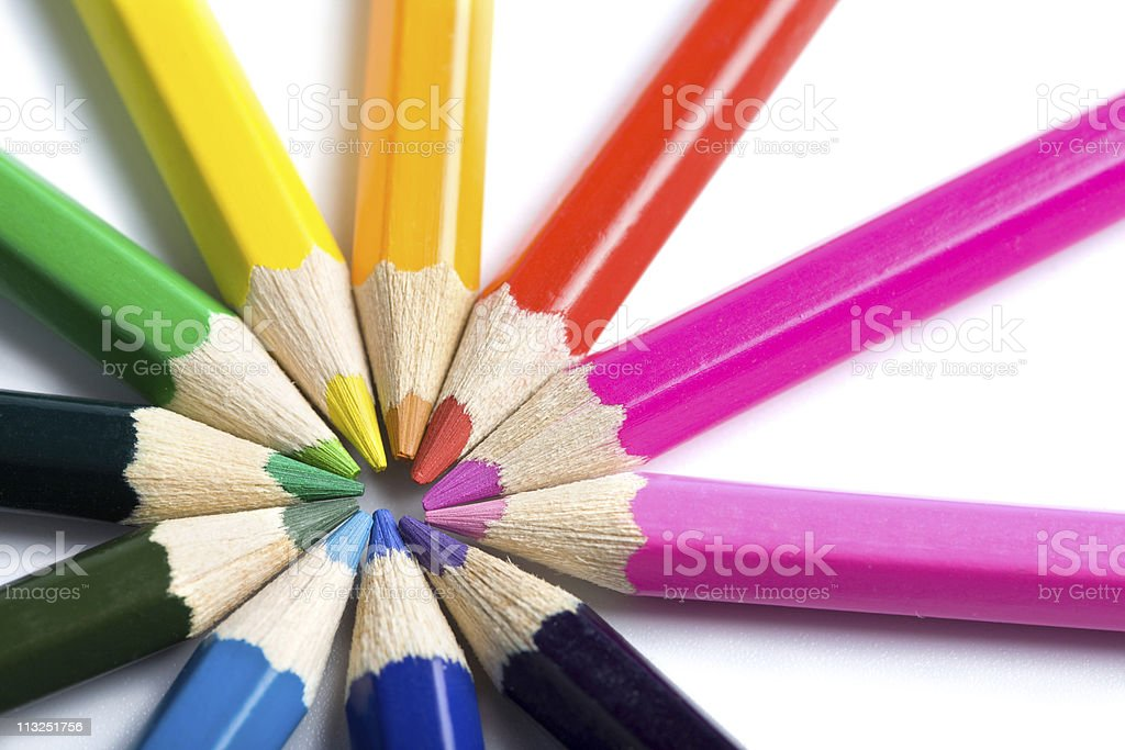colored pencils in round shape isolated royalty-free stock photo