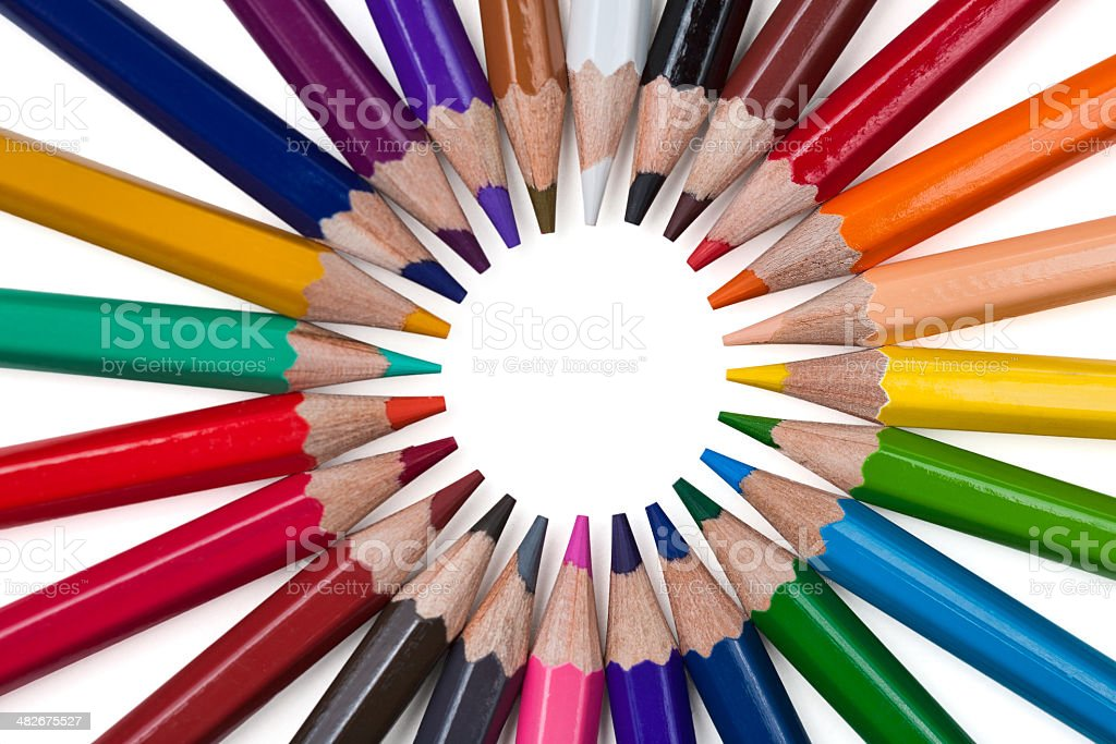 Colored pencils isolated on a white background royalty-free stock photo
