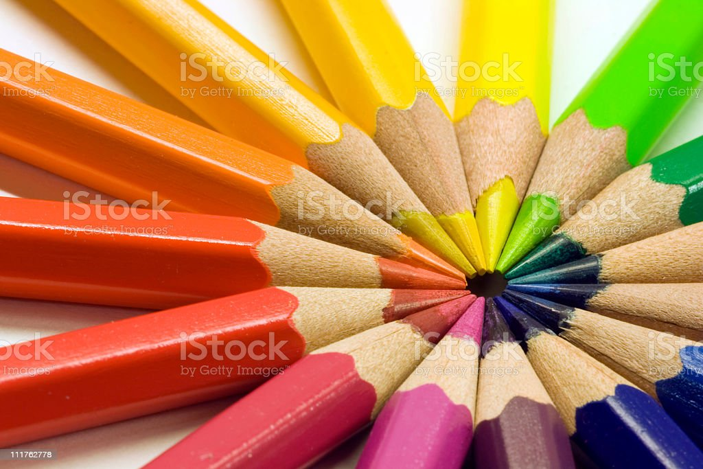 Colored pencils on white royalty-free stock photo
