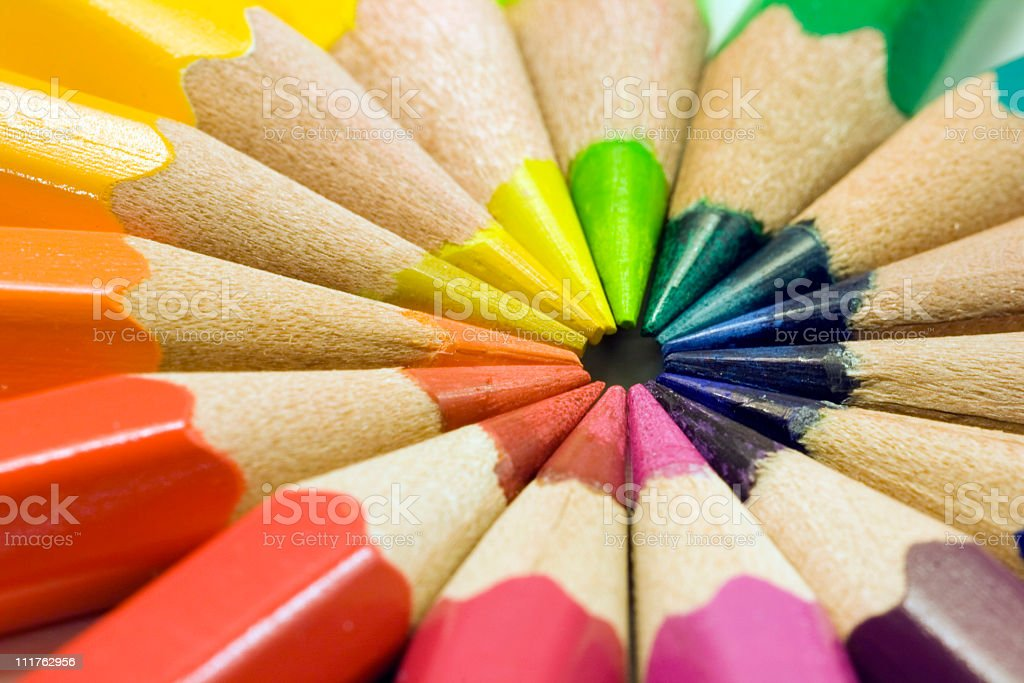 Colored pencils on white stock photo