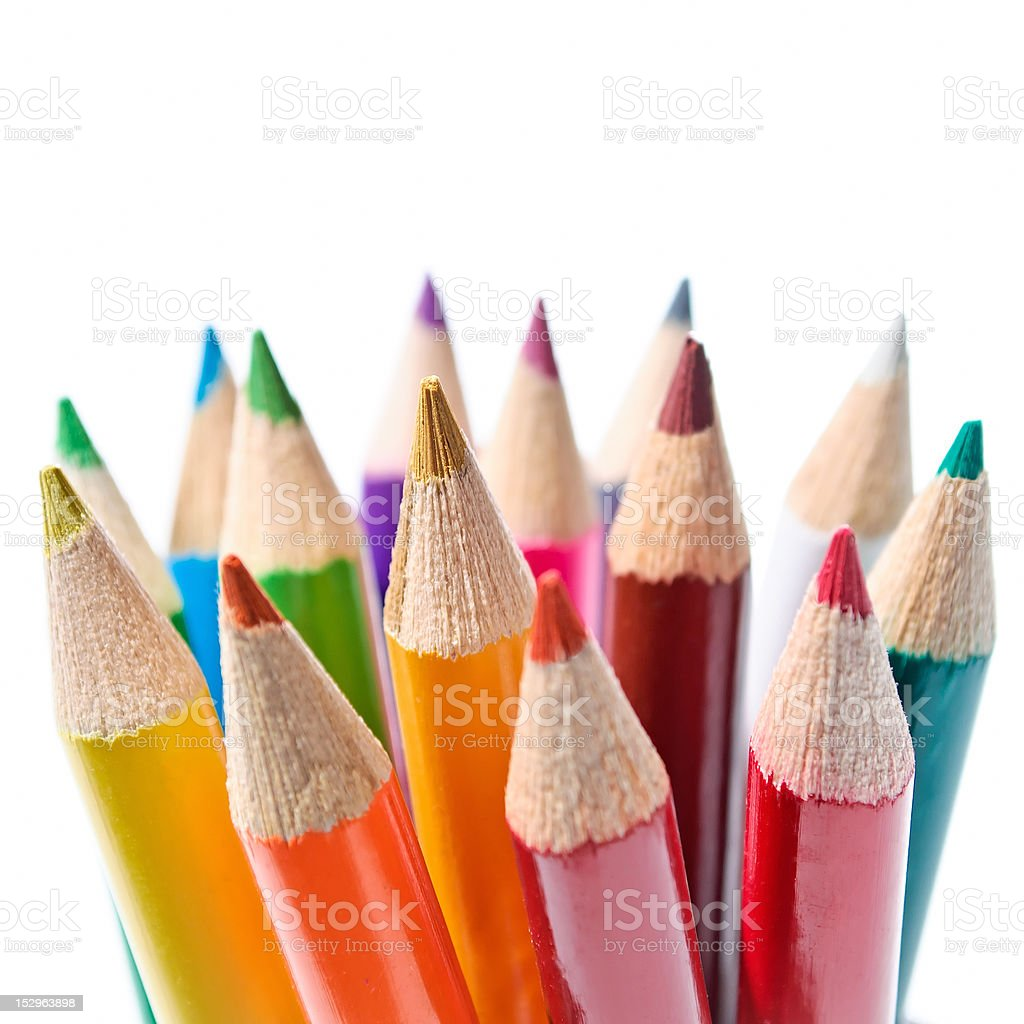 Colored pencils set stock photo