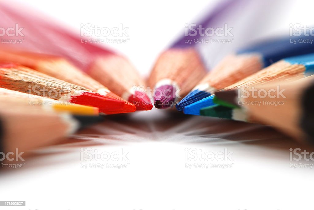 Colored pencils sharpened in circle royalty-free stock photo