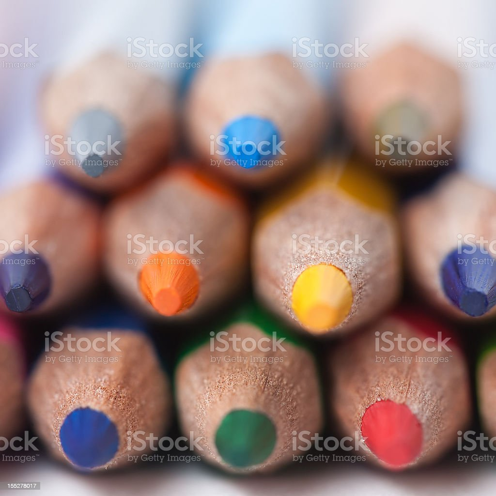 Colored pencils stack royalty-free stock photo
