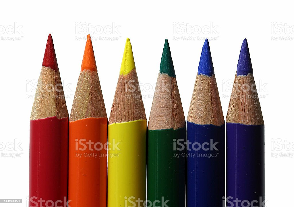 Colored pencils - straight row royalty-free stock photo