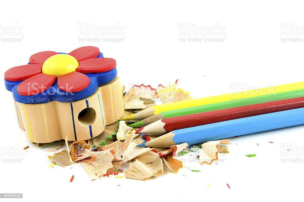 Crayons de couleurs avec sharpener et de rasage photo libre de droits