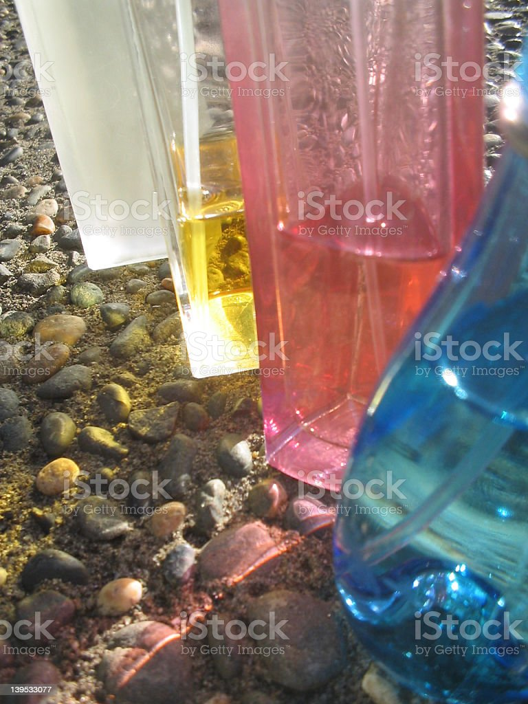 Colored Perfume Bottles royalty-free stock photo
