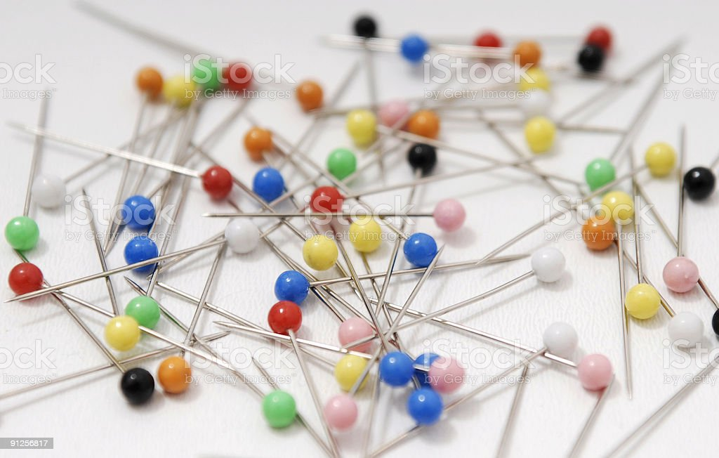 colored pins stock photo
