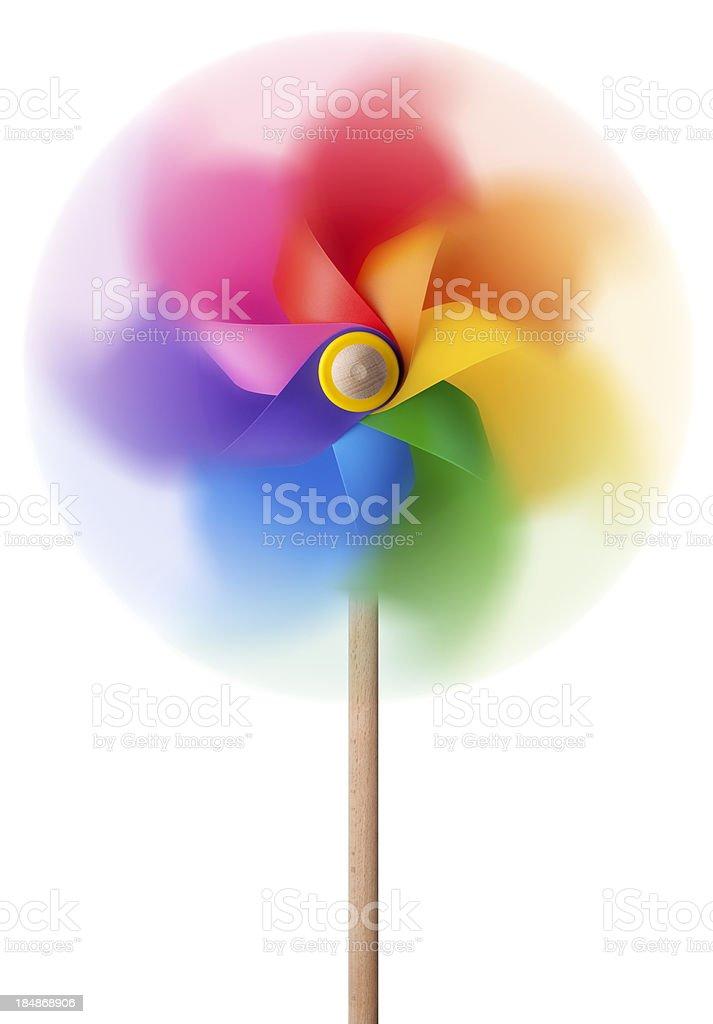 Colored pinwheel spinning stock photo
