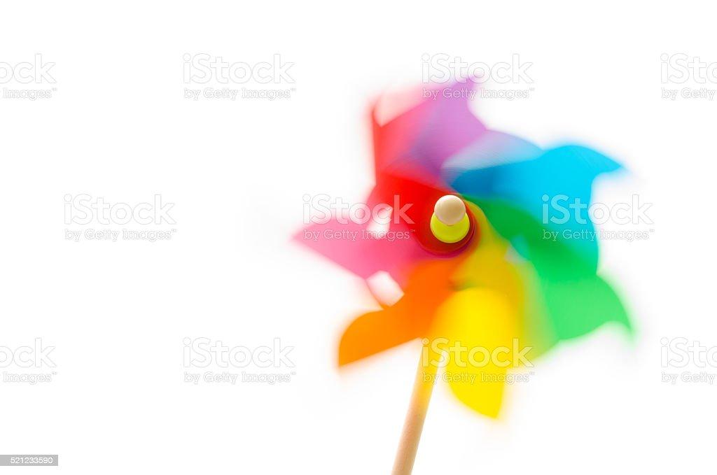 Colored pinwheel spinning. stock photo