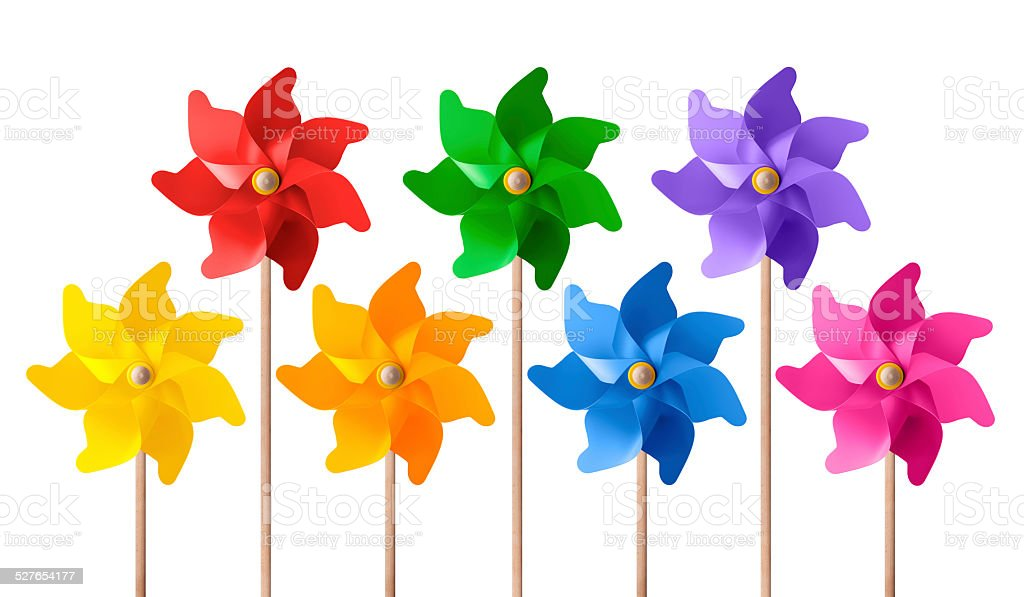 Colored pinwheels colored pinwheels stock photo