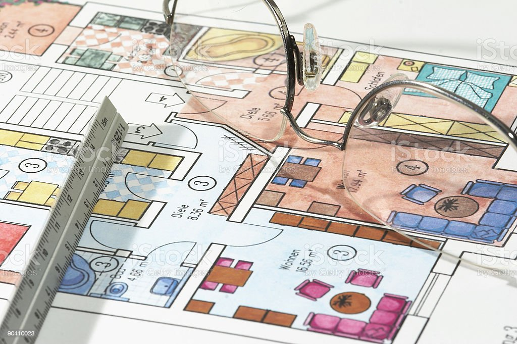 Colored plans of apartment royalty-free stock photo