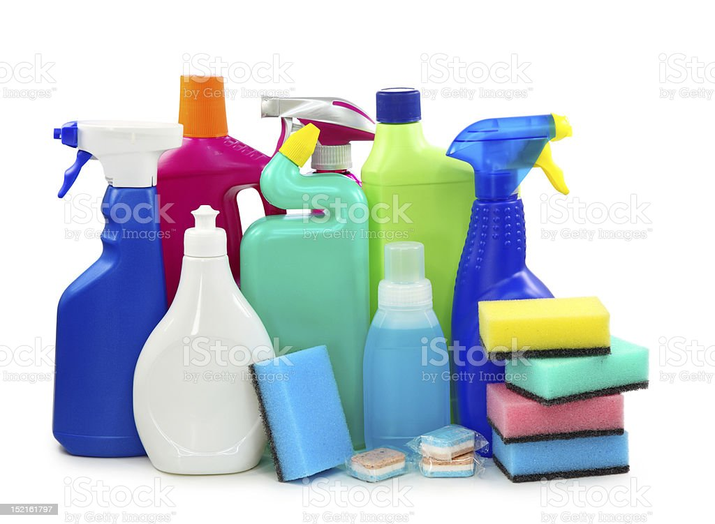 Colored plastic bottles stock photo