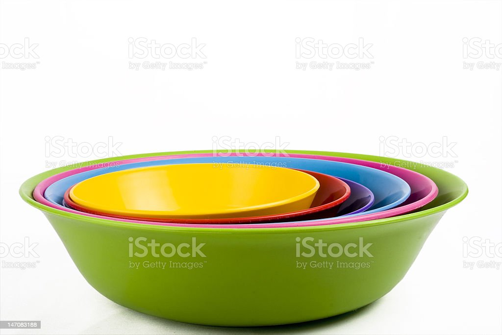 Colored plastic bowls royalty-free stock photo