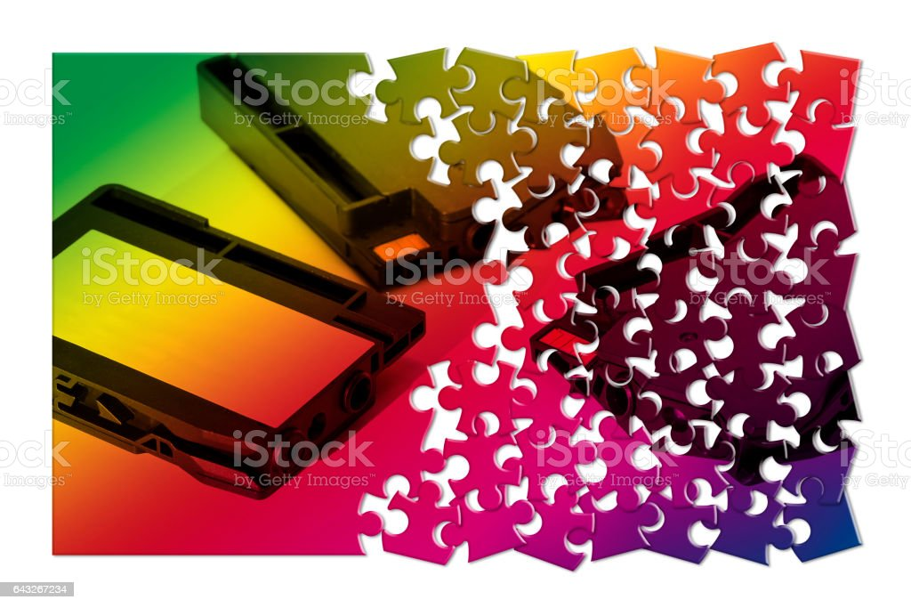 Colored  plastic inkjet cartridges with white label for text insertion stock photo