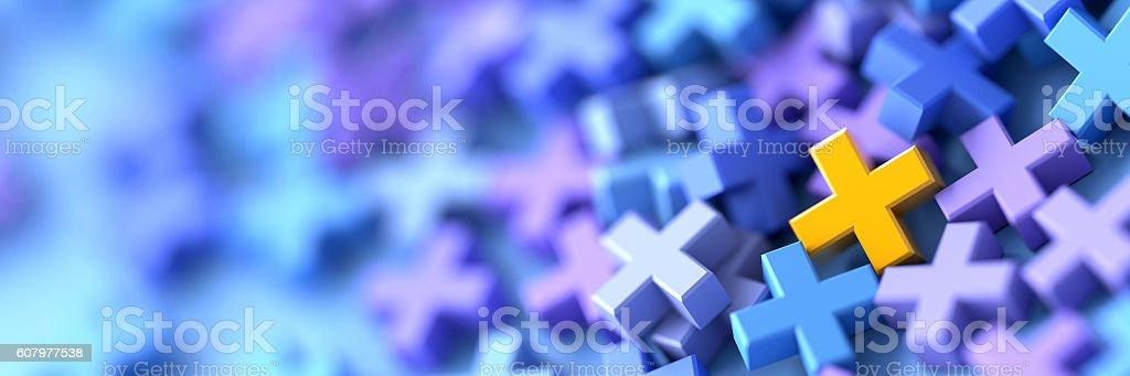 Colored plus symbols background stock photo