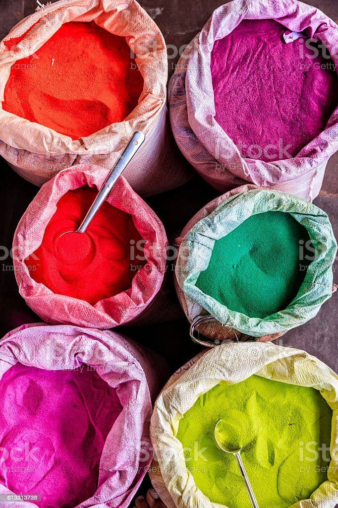 Colored powder - abir, for sale in Jaipur stock photo