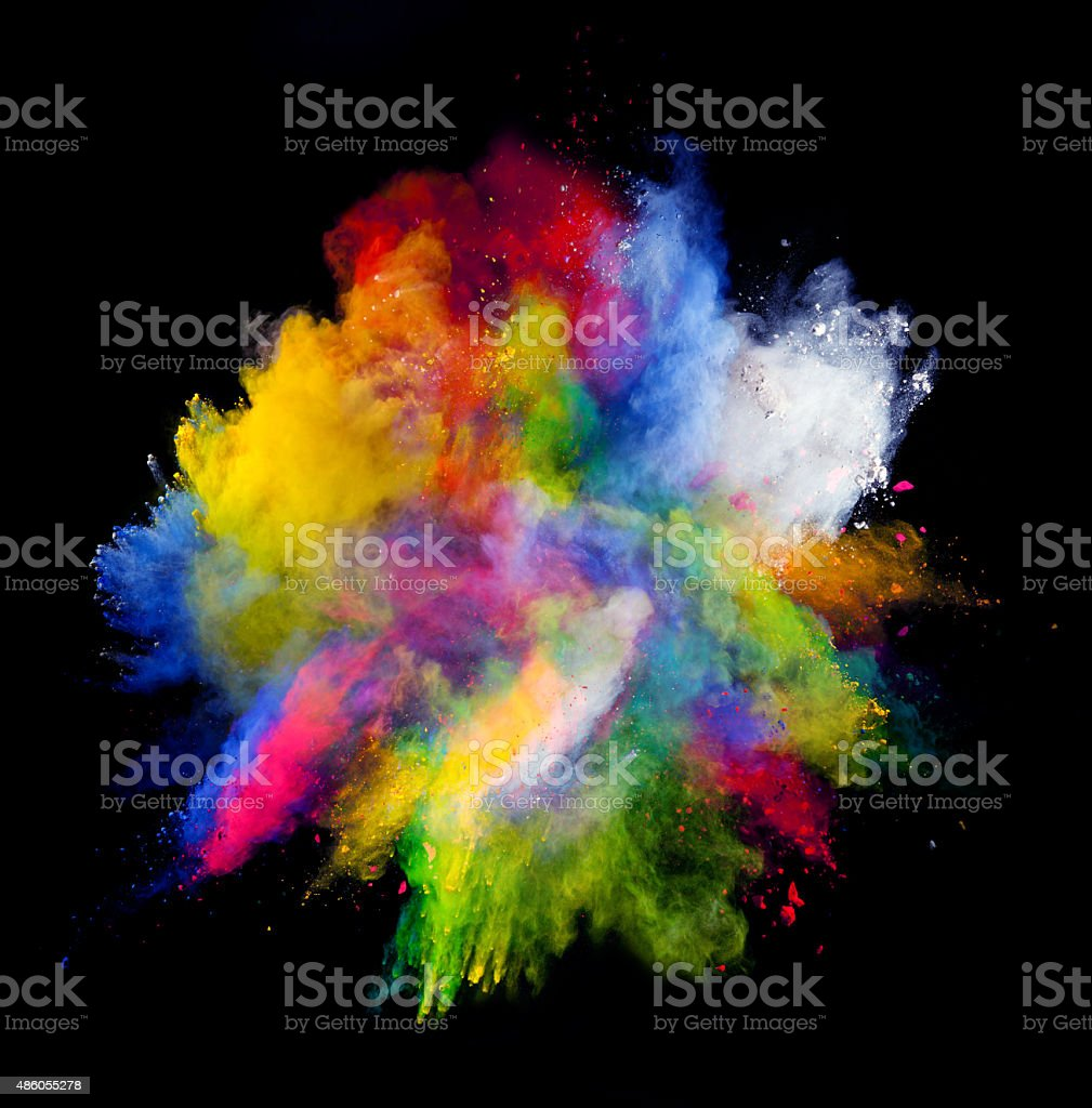 Colored powder on black background stock photo