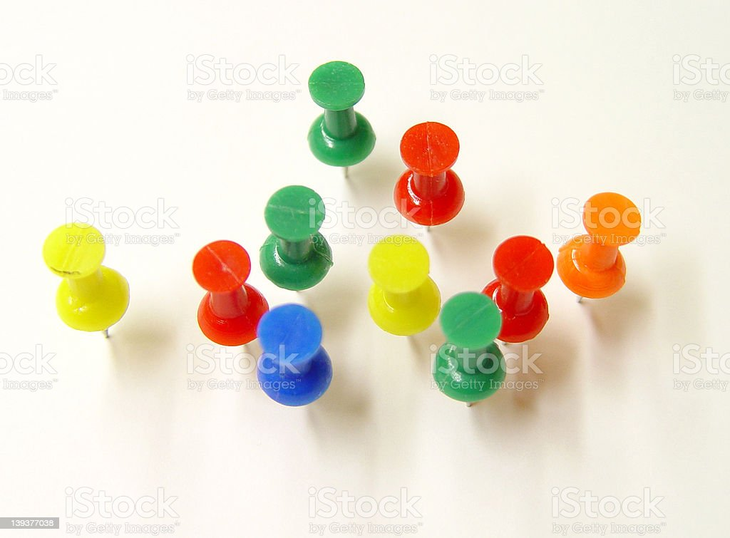 Colored Push Pins royalty-free stock photo