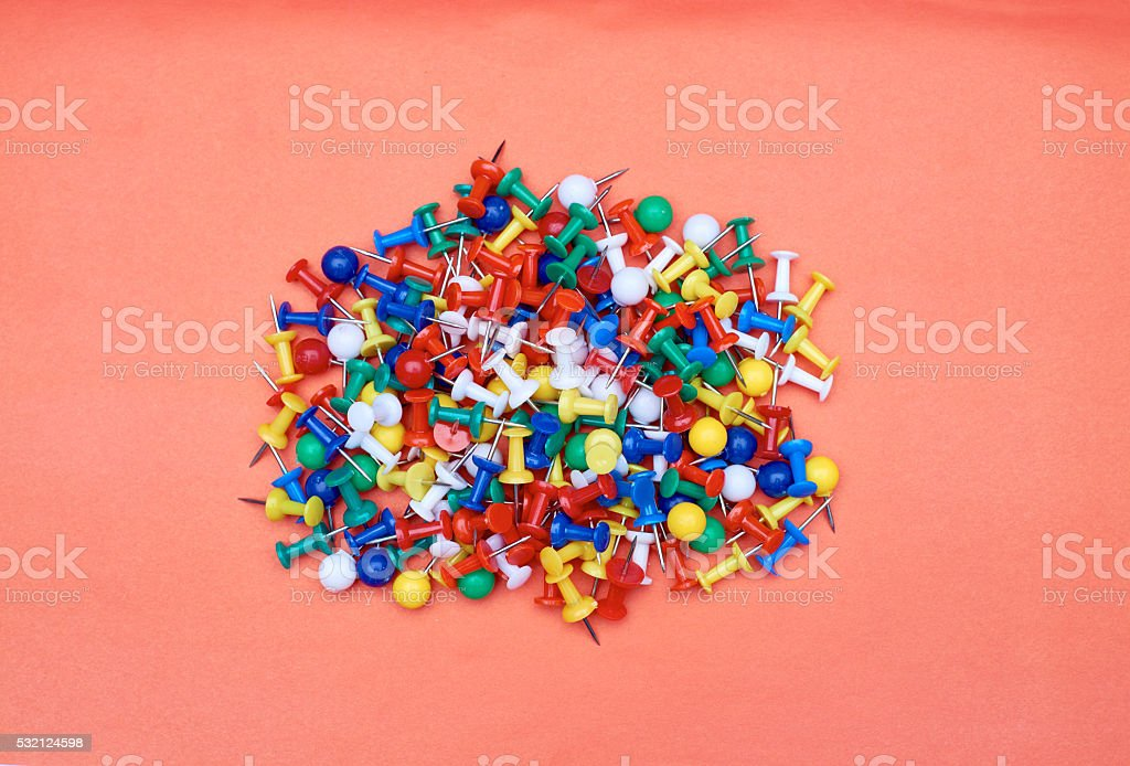 Colored push pins stock photo