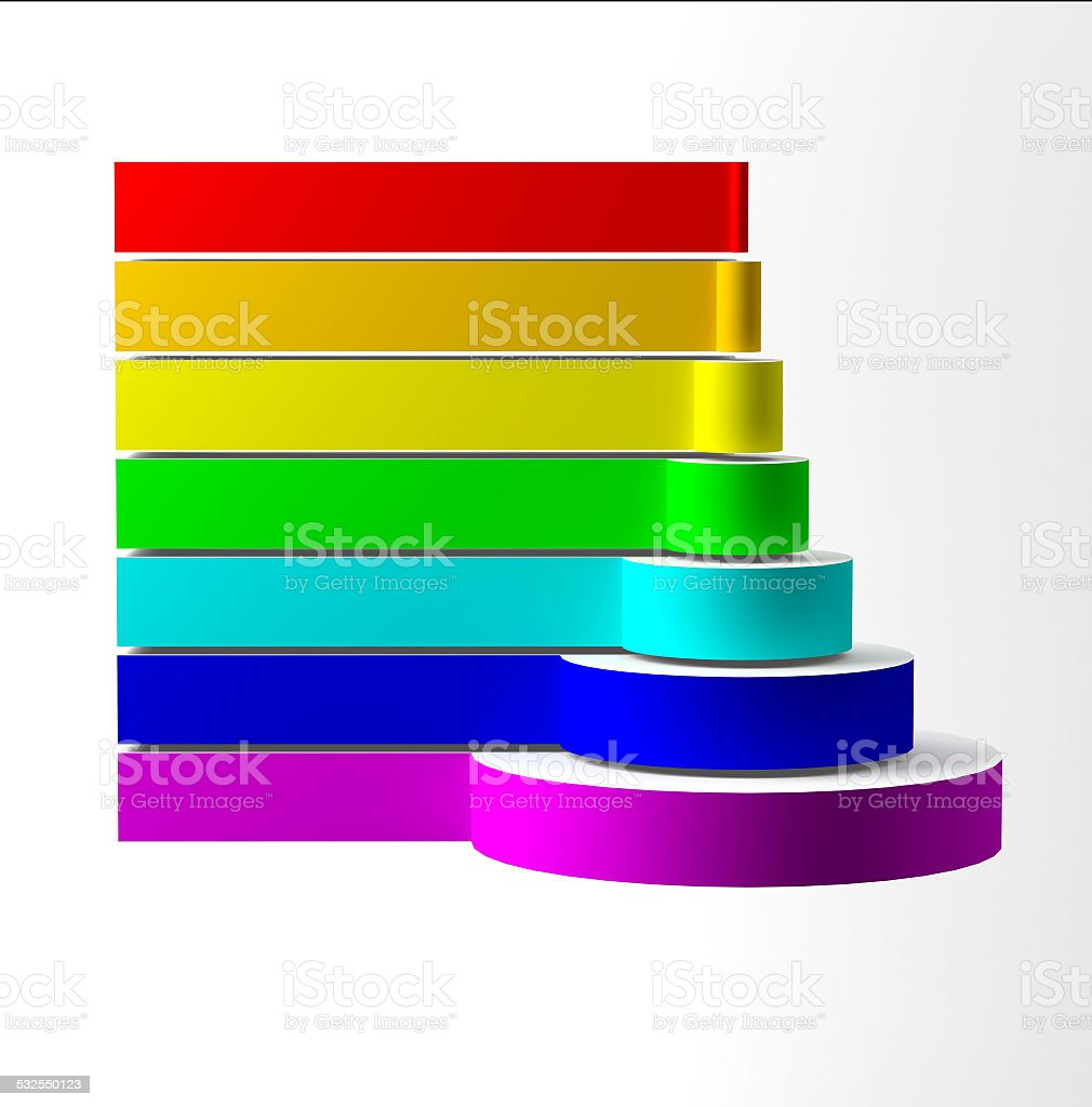 colored pyramid scheme 3D graphics stock photo