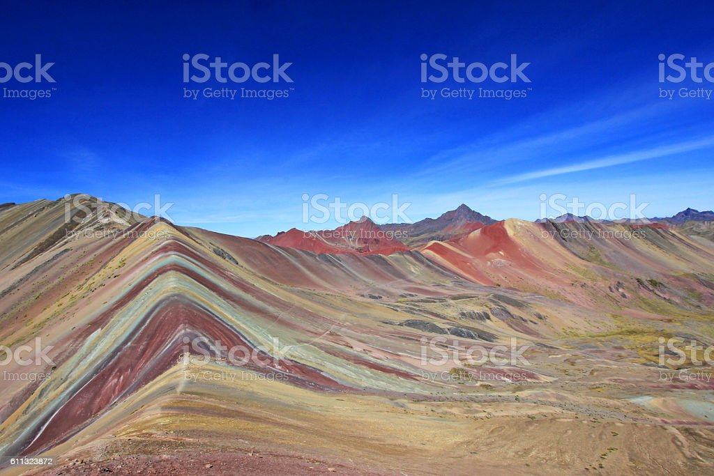 Colored Rainbow Mountain panorama Peru stock photo