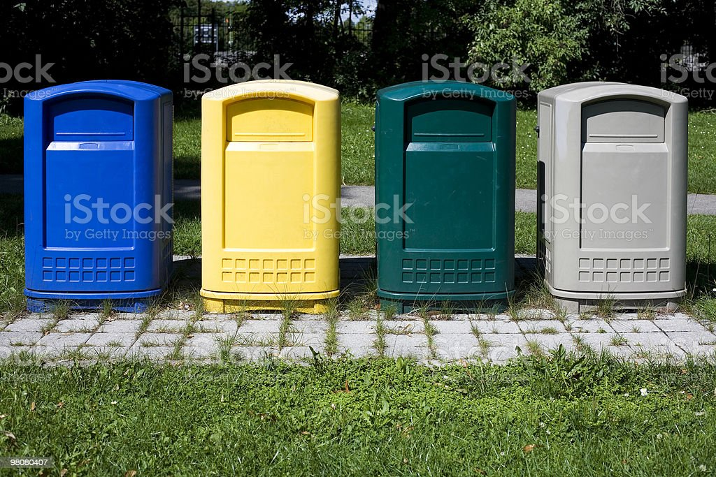colored recycling bins XL - place your branding royalty-free stock photo
