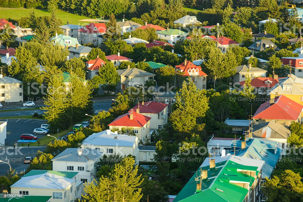 colored rooftops in Rekjavik city view from above stock photo