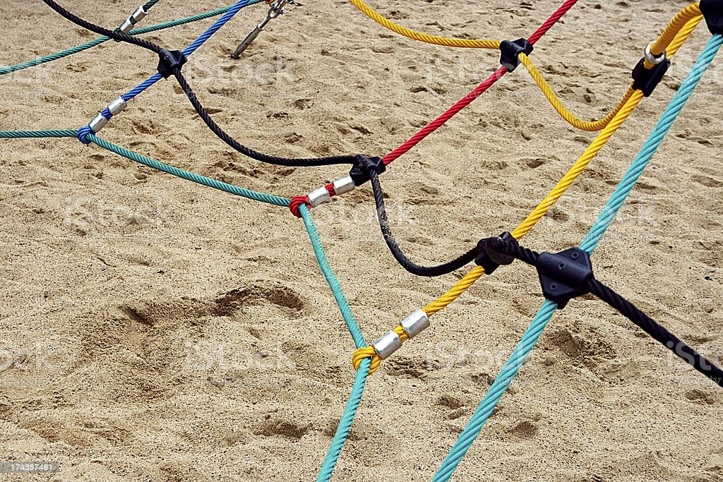 Colored ropes fastened together royalty-free stock photo
