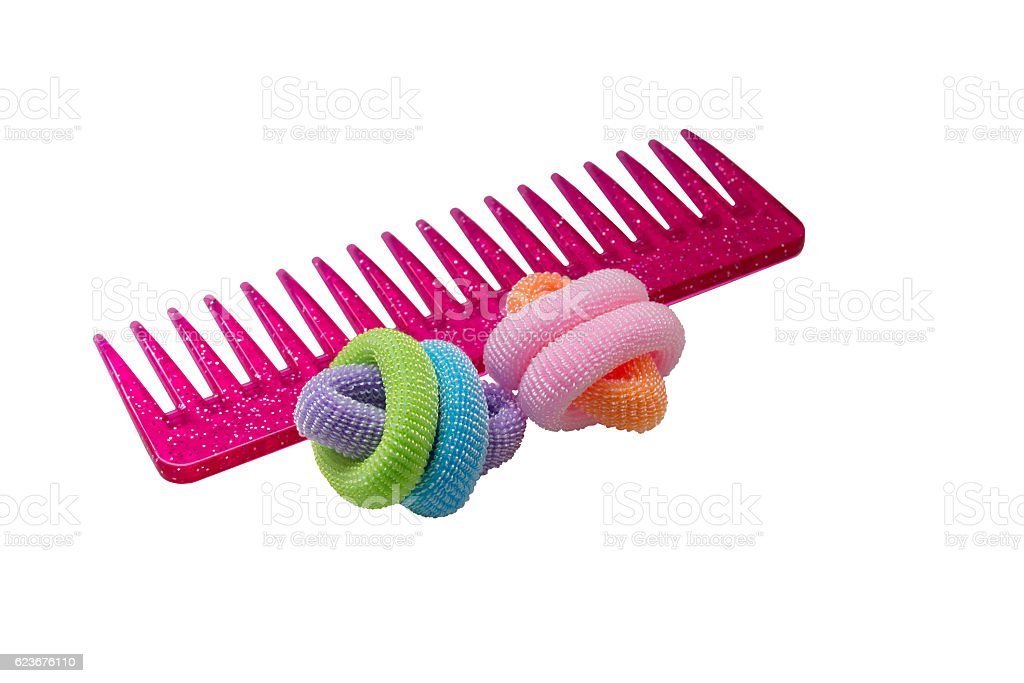 colored rubber bands for hair with comb stock photo