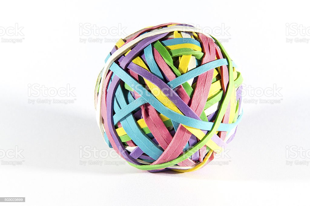 Colored rubber elastic band ball. Macro. stock photo