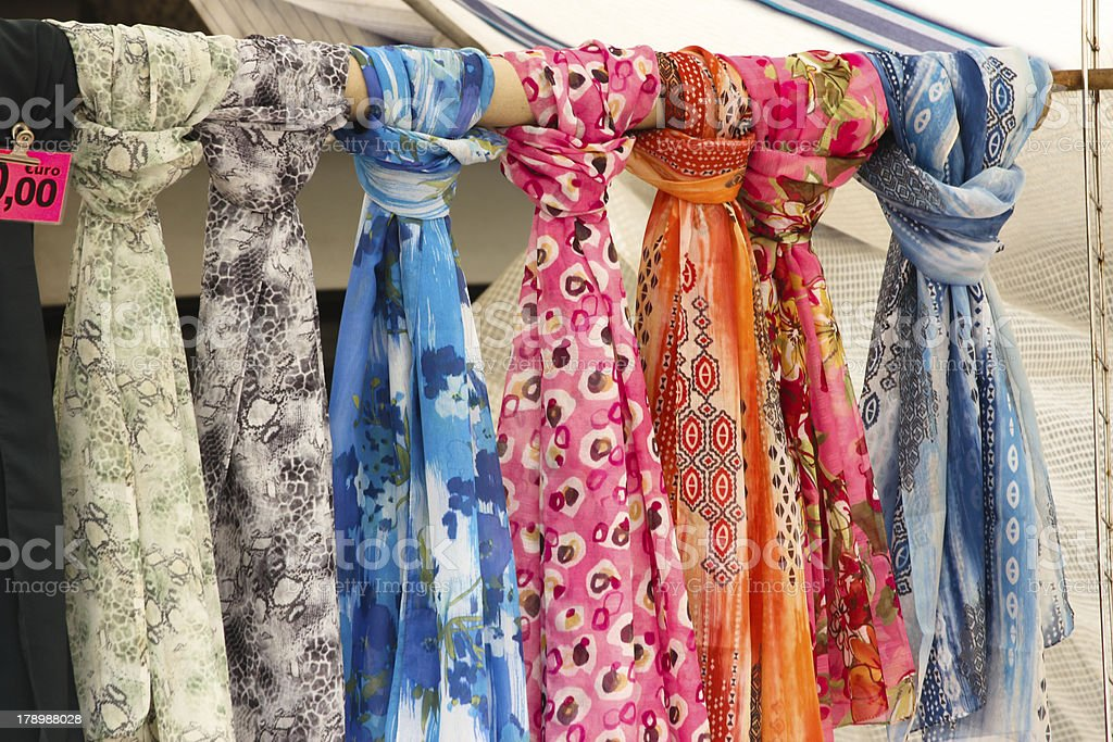 Colored scarf in a market stall royalty-free stock photo