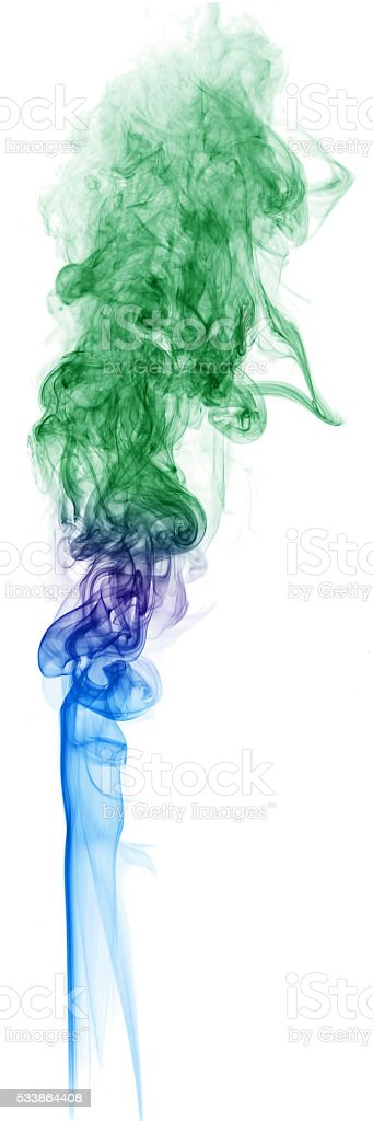 Colored smoke on white background abstract art texture stock photo