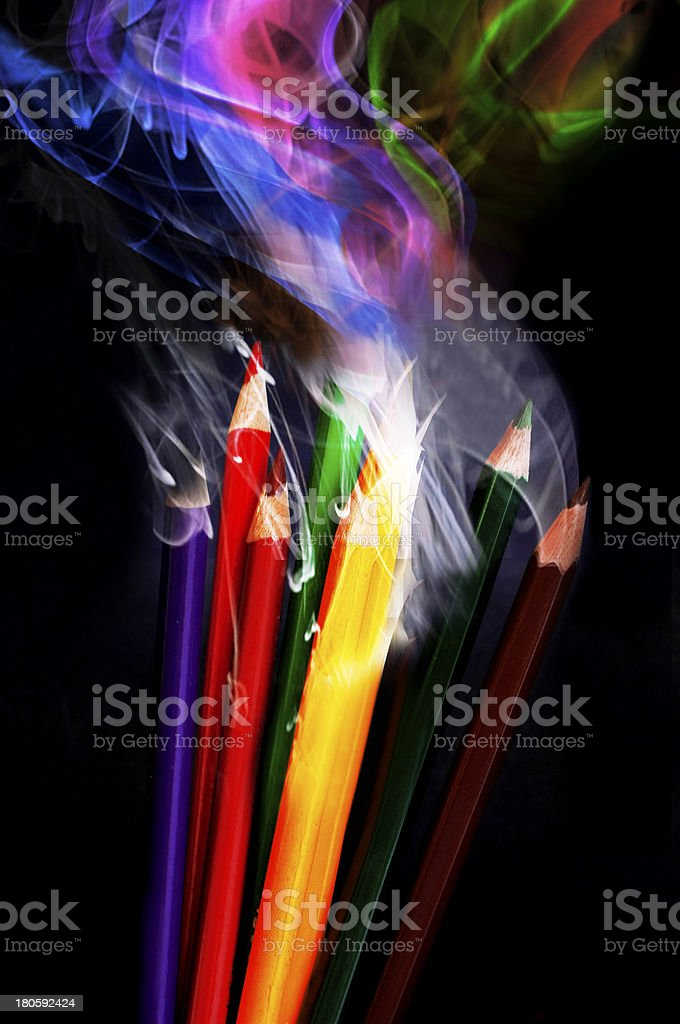 Colored Smoke Pencils royalty-free stock photo