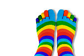 Colored socks with fingers isolated on white