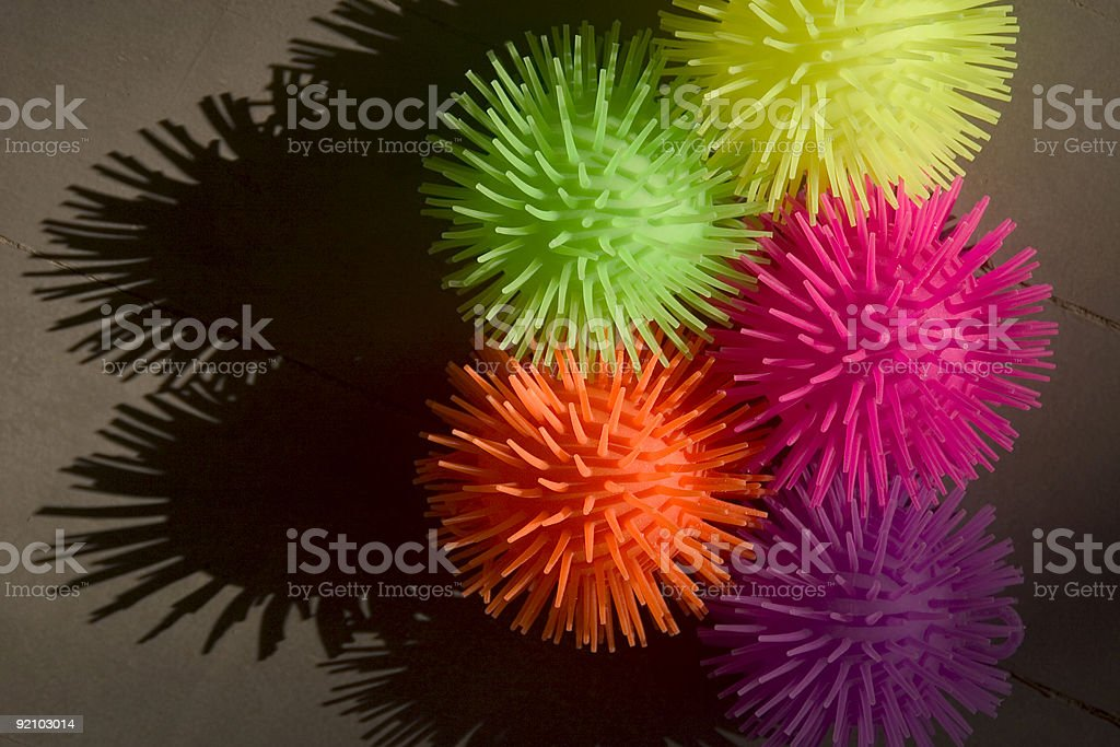Colored Spikey Balls royalty-free stock photo