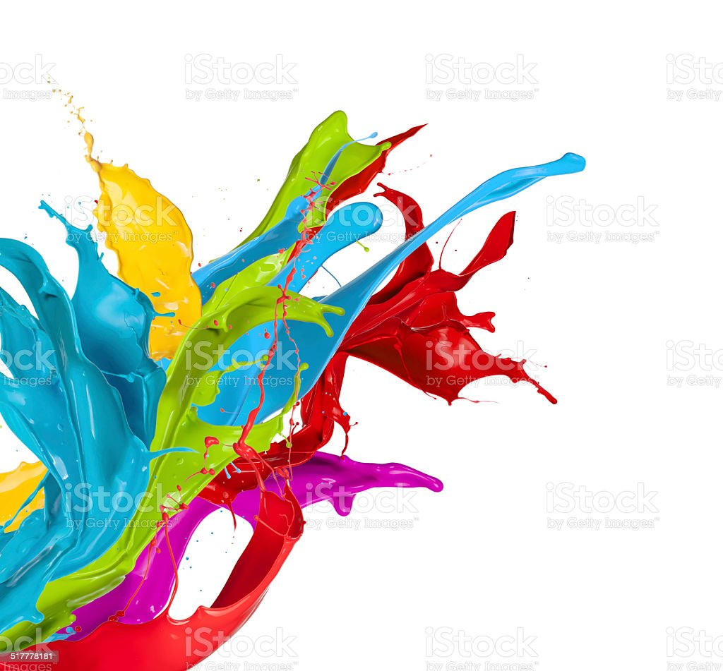 Colored splashes on white background stock photo