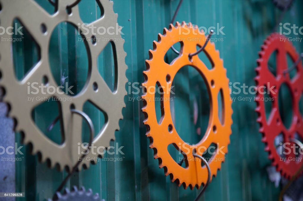 Colored Sprocket for motorcycle stock photo