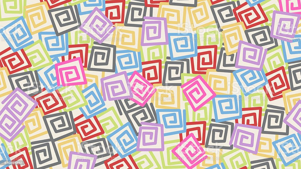 Colored square swirls pattern stock photo