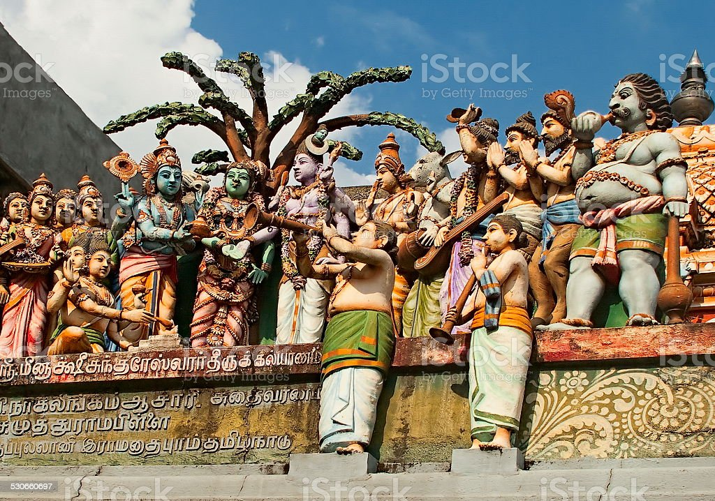 Colored statues of Indians gods stock photo