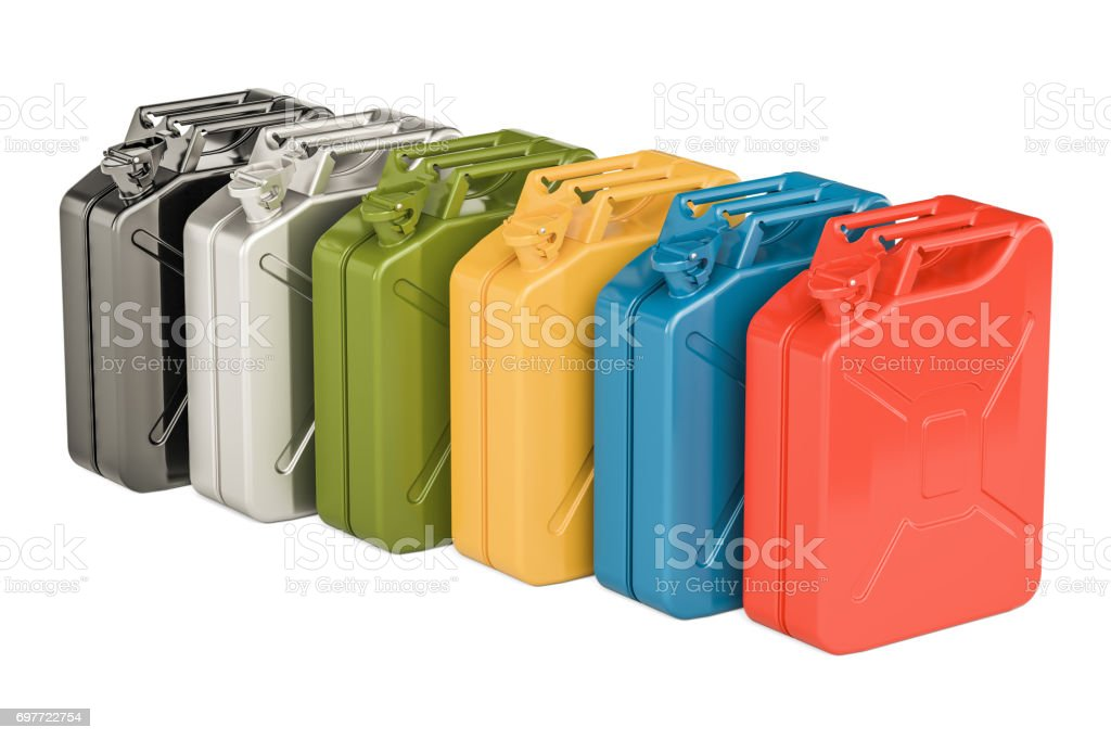 Colored steel jerry cans in row, 3D rendering isolated on white background stock photo