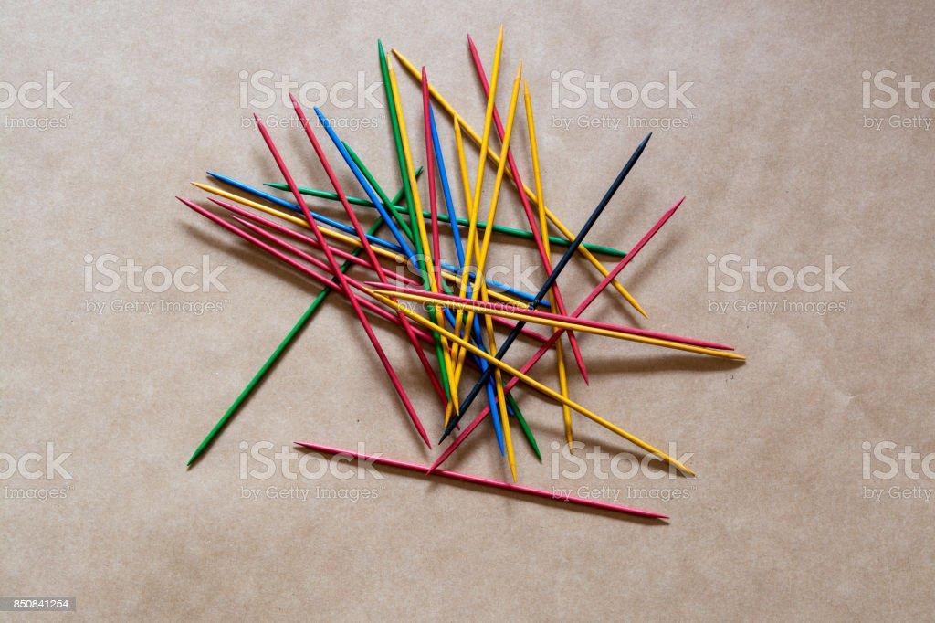 Colored sticks scatterd stock photo