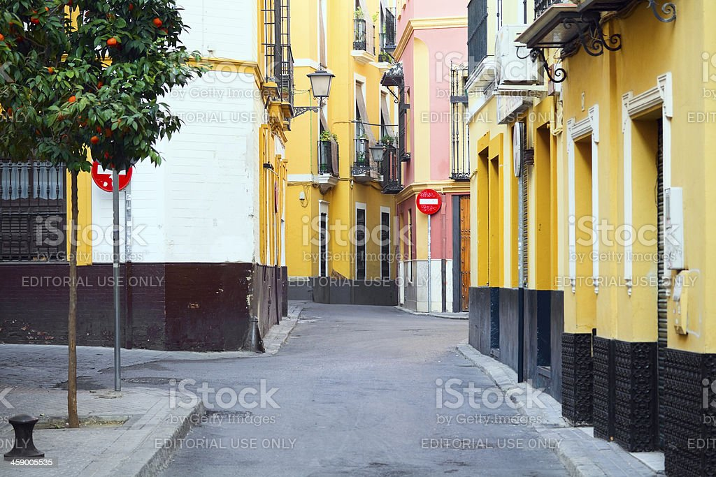 Colored street in Sevilla royalty-free stock photo