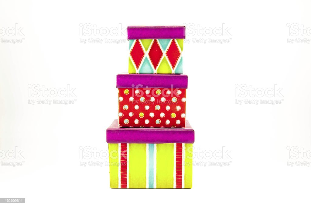 colored striped gift box stock photo